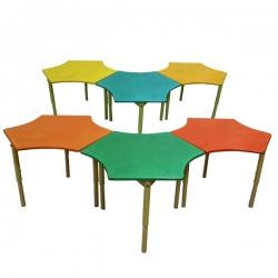 Стол Пчелка с выемками регулир. 6 сот (столешница ЛДСП)