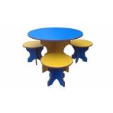 Комплект детской мебели «Стол и три Табуретки» Цветной или Бук
