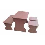 Комплект детской мебели «Стол, Скамья и два Табурета» Цветной или Бук