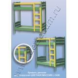 Кровать детская двухъярусная L-1400 Цветная (массив)